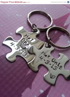 Thanksgiving Sale Her One and Her Only Puzzle Piece Keychain Set With Date - Lesbian Couples - LGBT on Etsy, $26.80