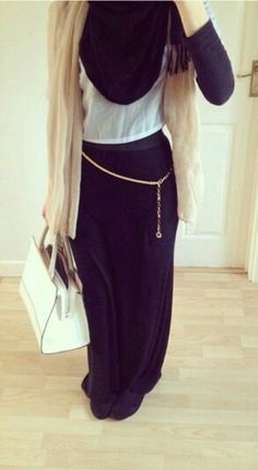Casual wear, good for work/college Maxi Outfits, Hijab Outfit, Modest Outfits, Fashion Outfits, Muslim Women Fashion, Islamic Fashion, Abaya Fashion, Modest Fashion, Hijab Fashionista