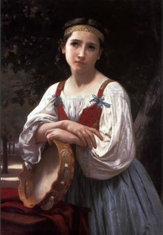 Gypsy Girl with a Basque Drum (by William Bouguereau)..
