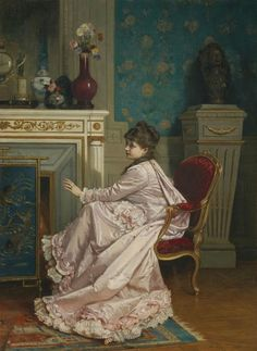 Woman by the Fireplace - Auguste Toulmouche