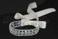 $28.21   Diamond and flower rhinestone white ribbon bracelet