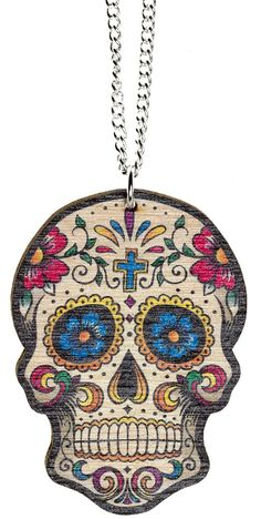 My most re-pinned item: WOODEN SUGAR SKULL NECKLACE -- I like the colors, but what is the fascination with skulls for women? Men get them on tattoos but I don't get it for women's jewelry.