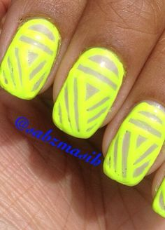 neon nail art but I would do pink & black!