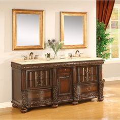 Mahogany Traditional Brown Wooden Vanity with Waverly Double Sinks Style and White Marble Countertops also 7 Useful Drawers for Bathroom Furniture Vanity 72 Inches Design Ideas Vintage Bathroom Vanities, Discount Bathroom Vanities, Small Bathroom Vanities, Vintage Bathrooms, Victorian Bathroom, Bathroom Modern, Bathroom Ideas, Mahogany Cabinets, Very Small Bathroom
