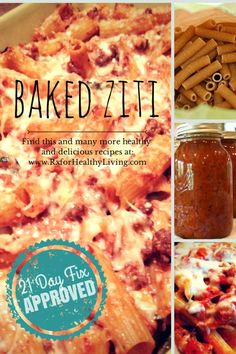 Cheesy, Creamy, and Healthy Baked Ziti - 21 Day Fix Approved Family Dinner Recipe. | http://www.rxforhealthyliving.com #21dayfix #recipe