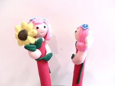 New Cute Polymer Fimo Clay Angel Girl with Sunflower Pen