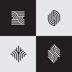 Modern line logos. Futuristic geometric shapes. Eps10 vector.