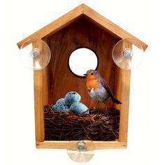 Fuglehus til montering på vindue Følg med i fuglenes familieliv helt tæt på