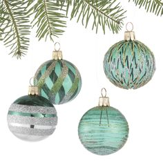 Set of 4 Glitter Design Tonal Green Ball Ornaments in Christmas Ornaments | Crate and Barrel
