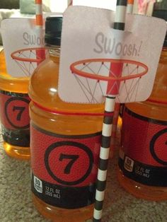 boy's basketball themed birthday party drinks