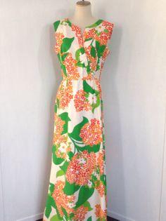 b06b1cd6032 Vintage Hawaiian Dress   70s Hawaiian Dress   Vintage Maxi Dress