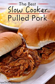 This is the last Crockpot Pulled Pork recipe you will ever need. It is PERFECT. Just 5 minutes of prep and you are on your way to some AMAZING BBQ! Recipes for two Slow Cooker Pulled Pork Best Pulled Pork Recipe, Pulled Pork Recipes, Perfect Pulled Pork, Slow Cooker Pork, Slow Cooker Recipes, Cooking Recipes, Crockpot Meals, Slow Cooker Pulled Pork Recipe, Modern Kitchens