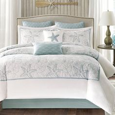 null <p></p><strong>Features:</strong><ul><li>Comforter filling: 300 Gram/sqm polyfill</li><li>Bedskirt: T200 100% cotton solid as drop, poly-cotton fabric platform</li><li>Product Type: Comforter</li><li>Set/Single: Set (matching pieces included)</li><li>Size: </li><li>Style: Coastal</li><li>Color: Blue/White</li><li>Pattern: Playing up the Seashell/Sand Dollar Embroidery with a Starfish</li><li>Pattern: </li><li>Material: Microfiber / Polyester<ul><li>Material Composition: </li></ul></li><li>W Beach Bedding Sets, Coastal Bedding, Coastal Bedrooms, Coastal Decor, Luxury Bedding, Coastal Cottage, Nautical Bedding, Tropical Bedding, Coastal Style