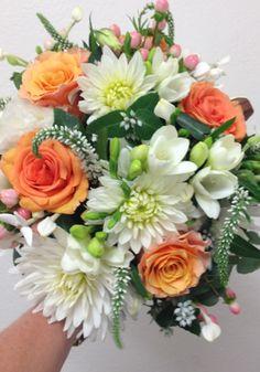 Orange and White Wedding Bouquet created by The Wild Orchid Florist, Echuca, Victoria. 0354806777 #thewildorchid #orangeflowers #dahlias #weddingbouqet