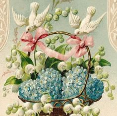 cards with doves and flowers | Victorian PostCard Basket of FMNs & LOV w DOVES | Our Cottage Garden
