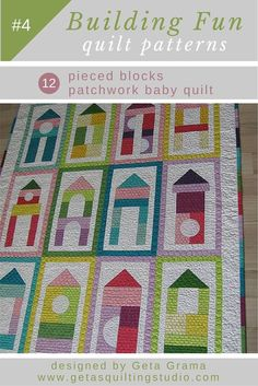 Baby quilt pattern - easy patchwork pattern for fun quilts for kids.