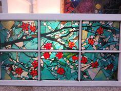 Cherry Blossom Tree stained glass mosaic window by Groovysquid Glass.