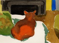 At the cat's cottage- Original watercolor painting