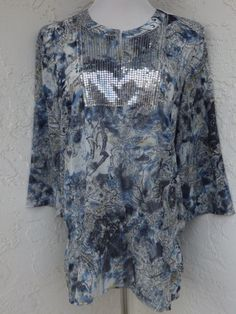 Chicos-size-2-M-12-blue-sparkle-3-4-sleeves-tunic-top-NWT