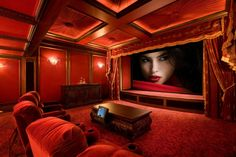 35 Modern Media Room Designs That Will Blow You Away audio. 35 Modern Media Room Designs That Will Blow You Away audio room Home Theater Curtains, Theater Room Decor, Home Theater Rooms, Home Theater Design, Lounge Design, Small Media Rooms, Upholstered Walls, At Home Movie Theater, Theatre