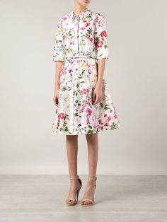 Oscar De La Renta Garden Print Belted Shirt Dress - Roan - Farfetch.com