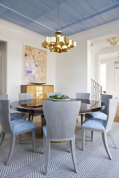 Stunning decorative ceiling design in this breathtaking dining room | Jenkins Interiors