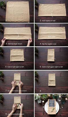 Sendt til dekoratøren. Ways To Fold A Napkin - Rustic Wedding Chic