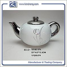 ceramic tea pot, stoneware tea pot, ceramic tableware, #sotneware #tableware #dinnerware #kinsheng, Lustrous stoneware tea pot in white with silver decal and electroplate handle.