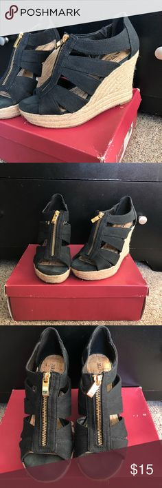 • Merona Wedges  Black and Beige Wedges from Merona. In good used condition, worn a few times. Size 6.5 Merona Shoes Wedges
