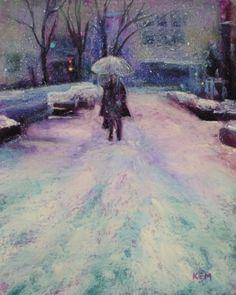 snow scene in soft pastels