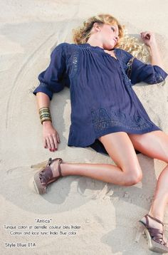 ANTICA cotton and lace tunic Blue Hippy Summer 2015 Collection #boho #gypset #hippy #blue #southoffrance #handprinting #bohemian #vintage #bohochic #bohostyle #boholiving #bohemianstyle #gypsy #hippie #travel #beach #french #france #wanderlust