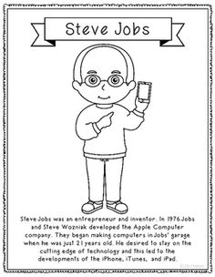 steve jobs coloring page craft or poster stem technology history