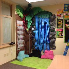 Classroom reading nook classroom economy store rainforest theme classroom.