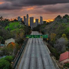 """""""Lonely Road to Los Angeles""""  Ever since my first time shooting at this location, I always imagined how awesome it would be to create a stunning sunset photo of this scenary by masking all the cars out in Photoshop. It was difficult to accomplish because the conditions must be right to create what I imagined in my mind.  There must be no traffic on the freeway (always traffic Monday thru saturday), clouds out to create drama in the sky, and a stunning colorful sunset. I have shot at this…"""