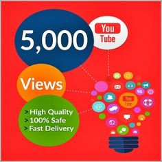 Buy 5,000 YouTube Views for your YouTube Video. Worldwide Views. Delivery Time 24 – 48 Hours. 100% Safe and Quality Views.
