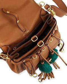 c2a49dedc05 Prada Corsaire Calf Leather Fringe Shoulder Bag
