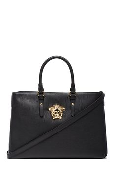 828b9abceffc VERSACE Large Satchel in Black   Gold