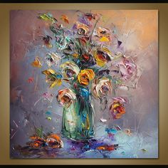 Oil Painting Flowers, Abstract Flowers, Canvas Wall Decor, Canvas Art, Original Artwork, Original Paintings, Mosaic Artwork, Palette Knife Painting, Your Paintings