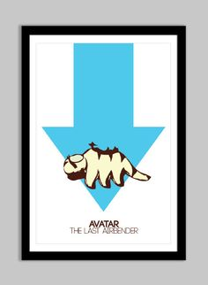 "13"" x 19"" Poster - Avatar The Last Airbender - Arrow, Appa Flying, Aang, Katara, Sokka, Avatar, Flying Bison - Minimal Digital Poster"