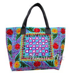 Indian Cotton Tote Shoulder Embroidery Suzani Handbag Woman Beach Boho Bag  jk26 #Unbranded #TotesShoppers