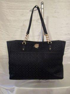 Tommy Hilfiger Handbag Tote 6932683 990 Color Black Gold Retail $ 99.00 #TommyHilfiger #TotesShoppers