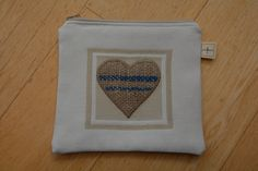 Hessian Heart Case.  Zippered Make up Case/Gadget Case.  Handcrafted featuring an applique design in jute from recycled coffee sacks.