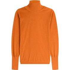 Roksanda Silk Turtleneck ($575) ❤ liked on Polyvore featuring tops, sweaters, orange, turtleneck sweater, orange silk top, turtle neck sweater, turtle neck tops und roksanda