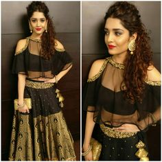 Ritika in black cape lehenga Indian Attire, Indian Ethnic Wear, Indian Style, Indian Designer Outfits, Designer Dresses, Indian Dresses, Indian Outfits, Pakistani Outfits, All Black Dresses