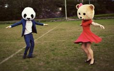Panda at heart. Panda Head, Bear Head, Animal Masks, Animal Heads, Lets Be Weird Together, Desu Desu, Bear Mask, Panda Love, Photo Couple