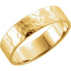 Men's 14kt Yellow 6mm Flat Band with Hammer Finish  http://baublepatch.jewelershowcase.com/products/51530/?groupId=125560