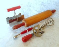 vintage kitchen utensils red wooden handles instant by brixiana