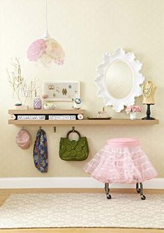 transform two floating shelves into a vanity in small NYC apartment - perfect idea!