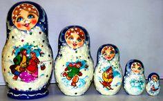 Nesting doll Winter Conversation Russian nested by Viktoriyasshop