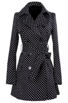 Vintage Turn-Down Collar Long Sleeve Polka Dot Self Tie Belt Coat Dress For Women